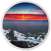 The Burning Clouds At Crater Lake Round Beach Towel