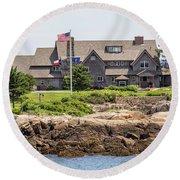 The Bush Compound Kennebunkport Maine Round Beach Towel