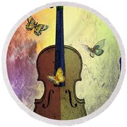 The Butterflies And The Violin Round Beach Towel
