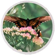 The Butterfly And The Bumblebee Round Beach Towel
