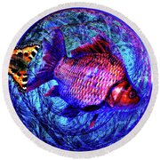 The Butterfly And The Fish Round Beach Towel by Joseph Mosley