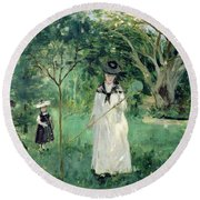 The Butterfly Hunt Round Beach Towel by Berthe Morisot