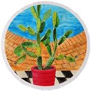 The Cactus From Nigeria Round Beach Towel