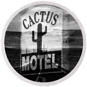 The Cactus Motel Round Beach Towel