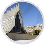 The Cadet Chapel At The U.s. Air Force Round Beach Towel