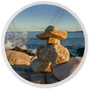 The Cairns Of Hunts Point Nova Scotia Round Beach Towel