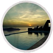 The Caldera View In Santorini Round Beach Towel