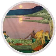 The Call Of The Sea Round Beach Towel by Frederick Cayley Robinson