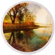 The Calm By The Creek Round Beach Towel