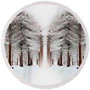 The Calm Of Winter In The Woods Round Beach Towel