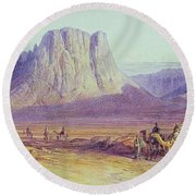 The Camel Train Round Beach Towel
