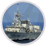 The Canadian Patrol Frigate Hmcs Round Beach Towel