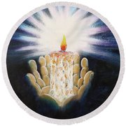 The Candle Of The Lord Round Beach Towel