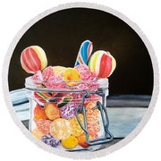 The Candy Jar Round Beach Towel