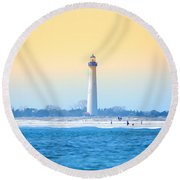 The Cape May Light House Round Beach Towel