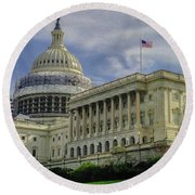 The Capitol Under Construction Round Beach Towel