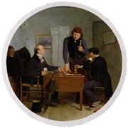 The Card Players Round Beach Towel by  Richard Caton Woodville