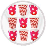 the Card with Red paper disposable glass in polka dot and zigzag isolated on white with copy space Round Beach Towel