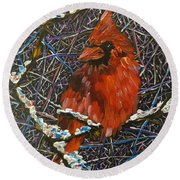 The Cardinal  Round Beach Towel