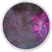 The Carina Nebula And Surrounding Round Beach Towel