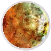 The Carina Nebula Panel Number One Out Of A Huge Three Panel Set Round Beach Towel