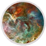 The Carina Nebula Panel Number Three Out Of A Huge Three Panel Set Round Beach Towel