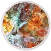 The Carina Nebula Panel Number Two Out Of A Huge Three Panel Set Round Beach Towel