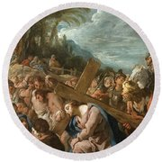 The Carrying Of The Cross Round Beach Towel