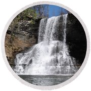 The Cascades Falls II Round Beach Towel