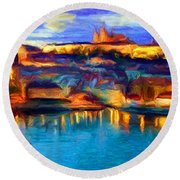 The Castle And The River Round Beach Towel