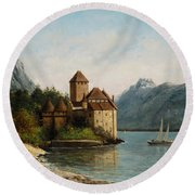 The Castle Of Chillon Evening Round Beach Towel by Gustave Courbet