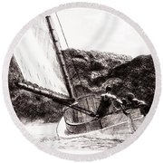 The Cat Boat, Edward Hopper Round Beach Towel