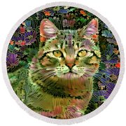 The Cat Who Loved Flowers 1 Round Beach Towel