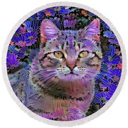 The Cat Who Loved Flowers 3 Round Beach Towel