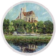 The Cathedral At Auxerre Round Beach Towel