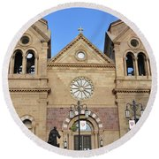 The Cathedral Basilica Of St. Francis Of Assisi, Santa Fe, New M Round Beach Towel