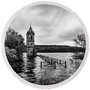 The Cathedral Of Fish Bw Round Beach Towel
