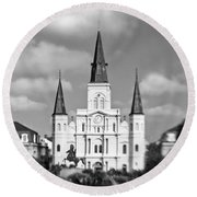 The Cathedral - Bw Round Beach Towel