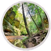 The Caves And Trail At Old Man's Cave Hocking Hills Ohio Round Beach Towel