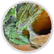 The Caves At Old Man's Gorge Trail Hocking Hills Ohio Round Beach Towel