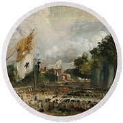 The Celebration In East Bergholt Of The Peace Of 1814 Concluded In Paris  Round Beach Towel