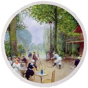 The Chalet Du Cycle In The Bois De Boulogne Round Beach Towel