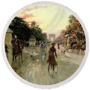 The Champs Elysees - Paris Round Beach Towel by Georges Stein