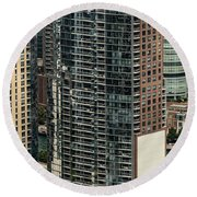 The Chandler Condominiums Building Chicago Aerial Round Beach Towel