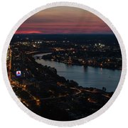 The Charles River Runs Through Boston At Sunset Boston, Ma Round Beach Towel