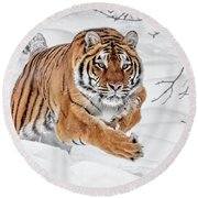 The Chase Is On Round Beach Towel