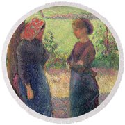 The Chat Round Beach Towel by Camille Pissarro