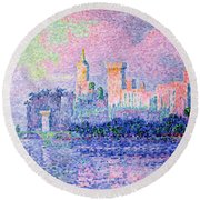 The Chateau Des Papes Round Beach Towel