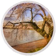 The Cherry Blossom Festival Round Beach Towel by Lois Bryan
