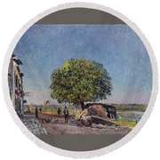 The Chestnut Tree At Saint-mammes Round Beach Towel